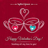Red Valentine Card With Two Cup Of Hot Drink And Wishes Text,  Vector