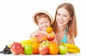 Happy Family Mother And Daughter Little Girl, Eat Healthy Vegetarian Food,  Fruit Isolated