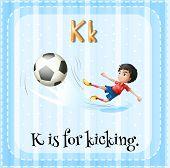 A letter K for kicking