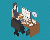 Business isometric 3d workplace.