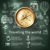 stock photo of compasses  - World travel poster with compass and tourism and holiday chalkboard elements vector illustration - JPG