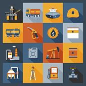 foto of tank truck  - Oil industry drilling gas terminal fuel canister icons flat set isolated vector illustration - JPG