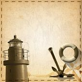 picture of rusty-spotted  - Old yellowed paper with spots compass rose lifebuoy sailing ship old rusty anchor and lighthouse - JPG