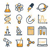 graphic set science and chemical objects on white background // Duo color