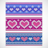 Valentine's seamless knitted banners with hearts