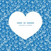 Vector blue white lineart plants heart silhouette pattern frame