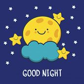 image of moon stars  - Funny sketching smiling moon and stars - JPG