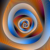 Spiral Labyrinth In Orange And Blue