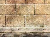 Grunge Background, Brick Wall Texture Plaster Wall And Blocks Road Sidewalk Abandoned Exterior Urban