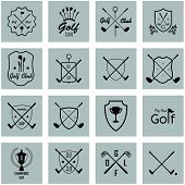 Set Of Vintage Golf Labels, Badges And Emblems On A Grey Background. Golfing Champion Labels And Ico