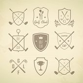 Golf. Vector Set Golfing Champion Labels And Icons. Symbols Golf Putter And Myach With Elements Of H