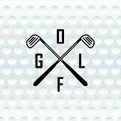 Emblems Golf Clubs. Retro Label Design. Realistic Rendition Of Golf Ball Texture Closeup.