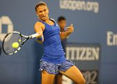 Professional tennis player Sara Errani from Italy during US Open 2014 round 4 match