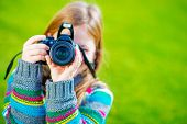 foto of teenagers  - Teenager Girl Learn How to Take Pictures Using DSLR Camera - JPG