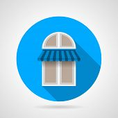 Flat vector icon for arch window with awning