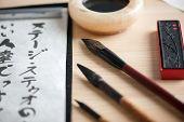 Closeup image of calligraphy tools
