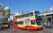 Tourists Taking A Double Decker Bus From Brighton Station, Uk.