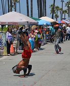 Acrobat On Venice Beach Entertains The Weekend Visitors