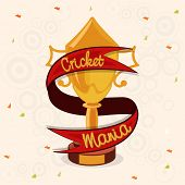 foto of cricket  - Golden winning trophy covered by red Cricket Mania ribbon for Cricket Sports concept - JPG