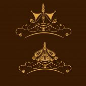 stock photo of pageant  - Set of two stylish  crown design on brown background - JPG