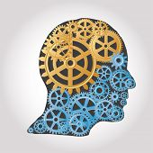 vector human profile with golden and blue gears