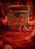 stock photo of casket  - Antique jewellery casket with red hearts for Valentines day - JPG
