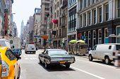 Soho street traffic in Manhattan New York City NYC USA