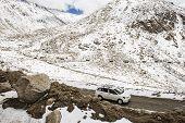caravan road trip at Chang La Pass third highest motorable road in the world Ladakh LADAKH, INDIA -