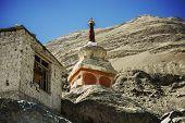 Buddhist stupas in Diskit Monastery, Ladakh, India - September 2014