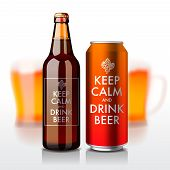 Beer bottle and can with label - Keep Calm and drink beer