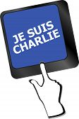picture of extremist  - Je Suis Charlie text on keyboard keys movement against terrorism - JPG
