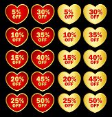 image of special day  - Collection of heart shapes gold and red discount tags  - JPG