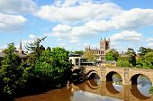 Wye Bridge and Hereford Cathedral.