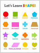image of octagon shape  - Colorful geometric shapes with their name clipart collection isolated on white background for preschool kids - JPG