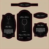 wine labels black and red wineglass