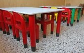Plastic Chairs And Small Tables In The Nursery Class