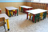 Chairs And Small Tables Of School Refectory For Children