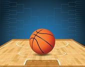 stock photo of basketball  - An illustration of a basketball on a court and a tournament bracket in the background - JPG