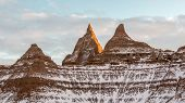 Spires In The Badlands In Winter