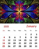 2015 Calendar. January.fractal Pattern In Stained Glass Style.