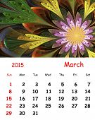 2015 Calendar. March.fractal Pattern In Stained Glass Style.