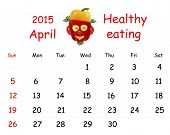 2015 Calendar. April. Funny Portrait Made of Vegetables And Fruits.