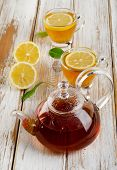 Hot  Tea And Lemon On  A Wooden Table