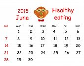 2015 Calendar. June. Funny Portrait Made of Vegetables And Fruits.