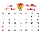 2015 Calendar. October. Funny Portrait Made of Vegetables And Fruits.