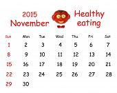 2015 Calendar. November. Funny Portrait Made of Vegetables And Fruits.
