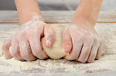 Woman Hands In Flour  Kneading Dough