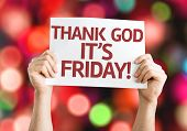 Thank God It's Friday card with colorful background with defocused lights