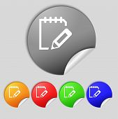 Edit Document Sign Icon. Set Colour Button. Modern Ui Website Navigation Vector