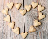 Heart Shaped Cookies On A Wooden Table For Valentine's Day